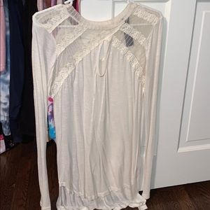 Free People Ivory Lace Long Sleeve
